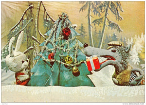 New Year Greeting card - 1 - puppetry - hare - wolf - 1978 - Estonia USSR - unused - JH Postcards
