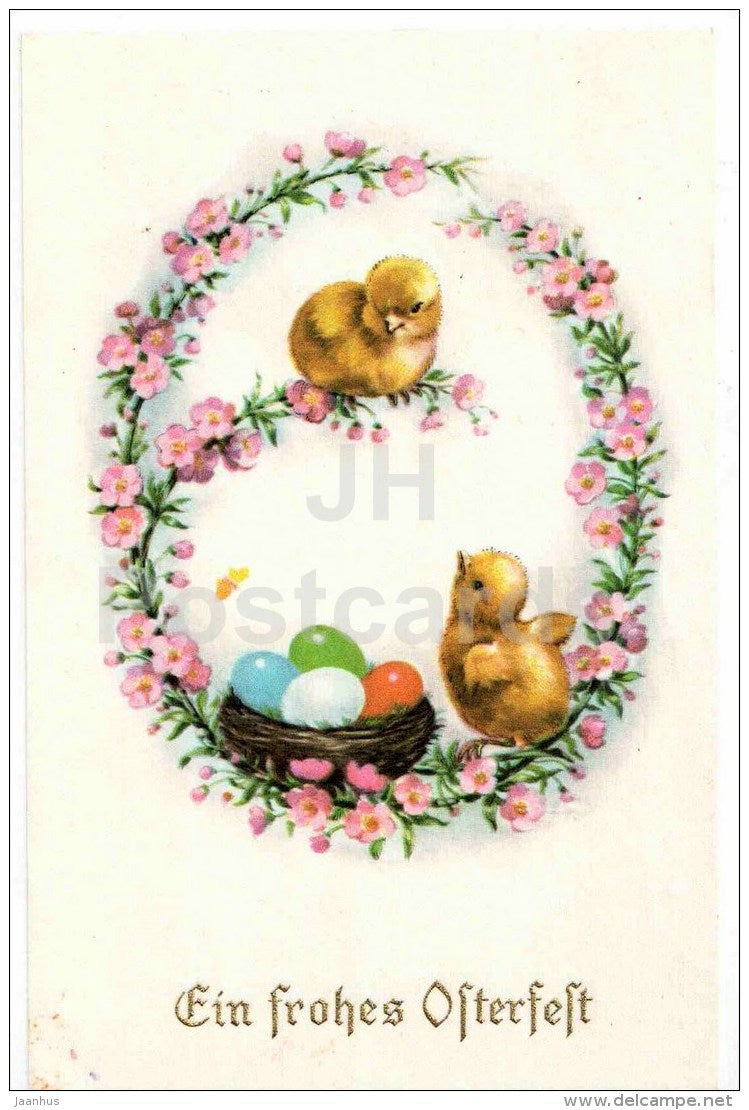 Easter greeting card - Ein frohes Osterfest - chicken - eggs - nest - used - JH Postcards