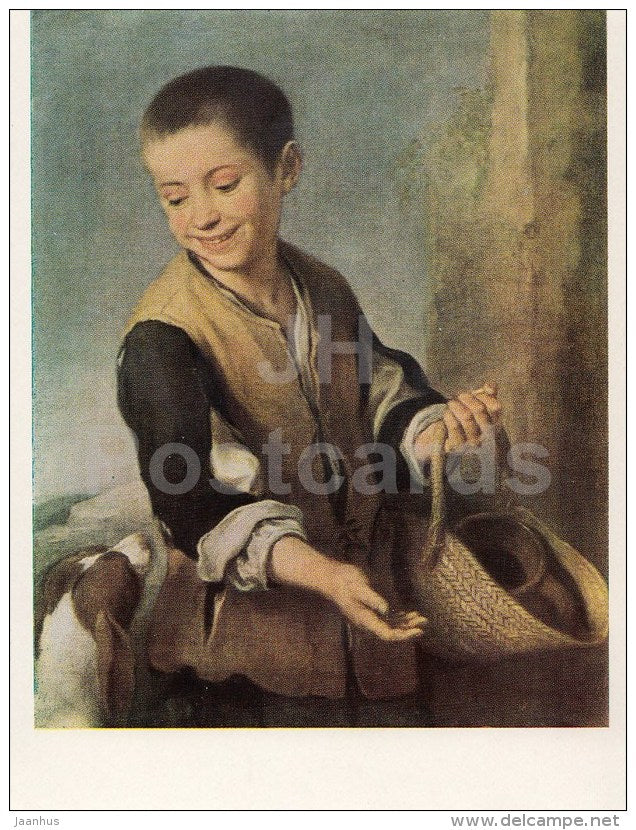 painting by Bartolome Esteban Murillo - Boy with Dog - Spanish Art - 1963 - Russia USSR - unused - JH Postcards