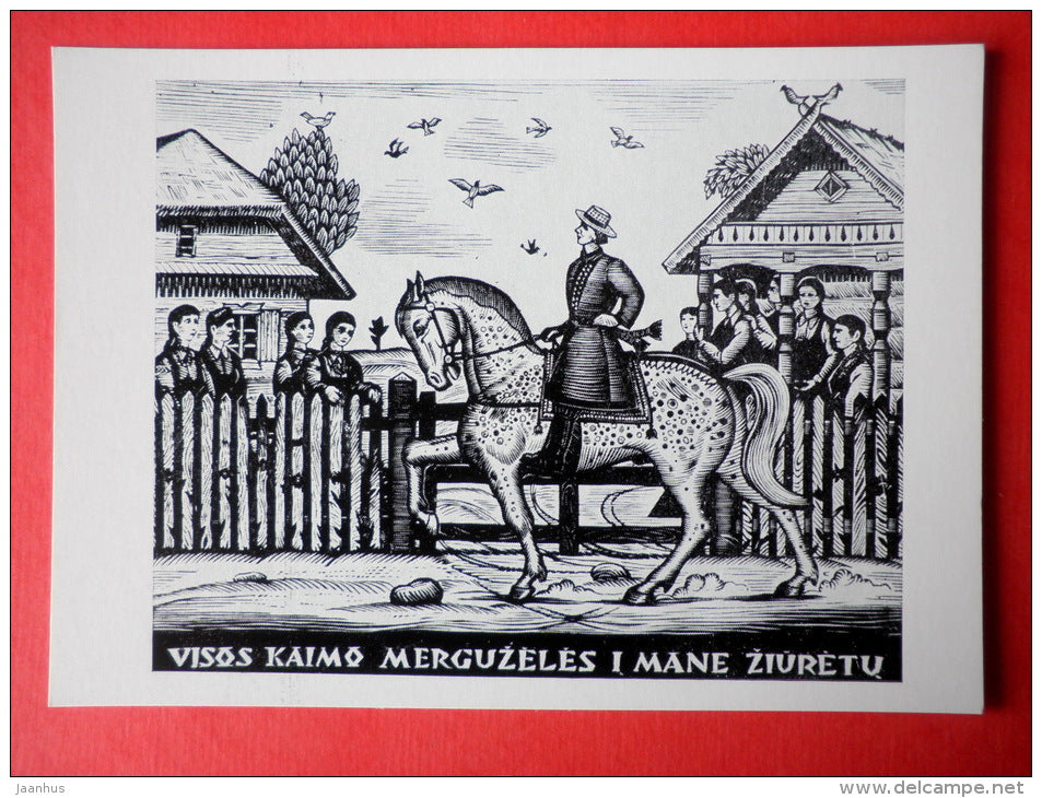 engraving by Jonas Kuzminskis - Lithuanian Folk Song theme . 1960 - horse - lithuanian art - unused - JH Postcards
