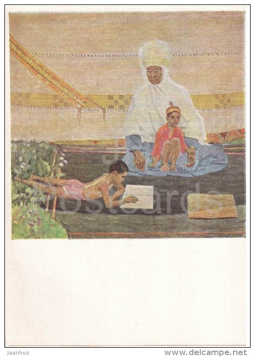 painting by Ali Dzhusupov - First Reading , 1963 - children - kazakhstan art - unused - JH Postcards