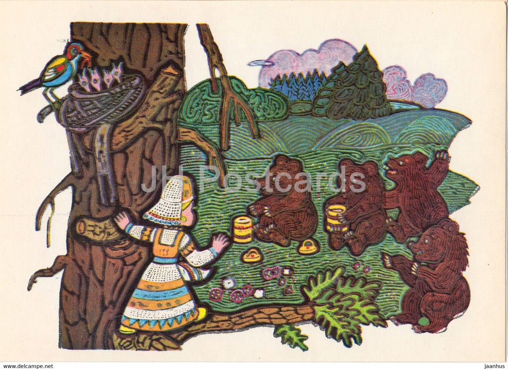 illustration by V. Ignatov - Girl with a spindle - bears - Komi fairy tale - 1977 - Russia USSR - unused - JH Postcards