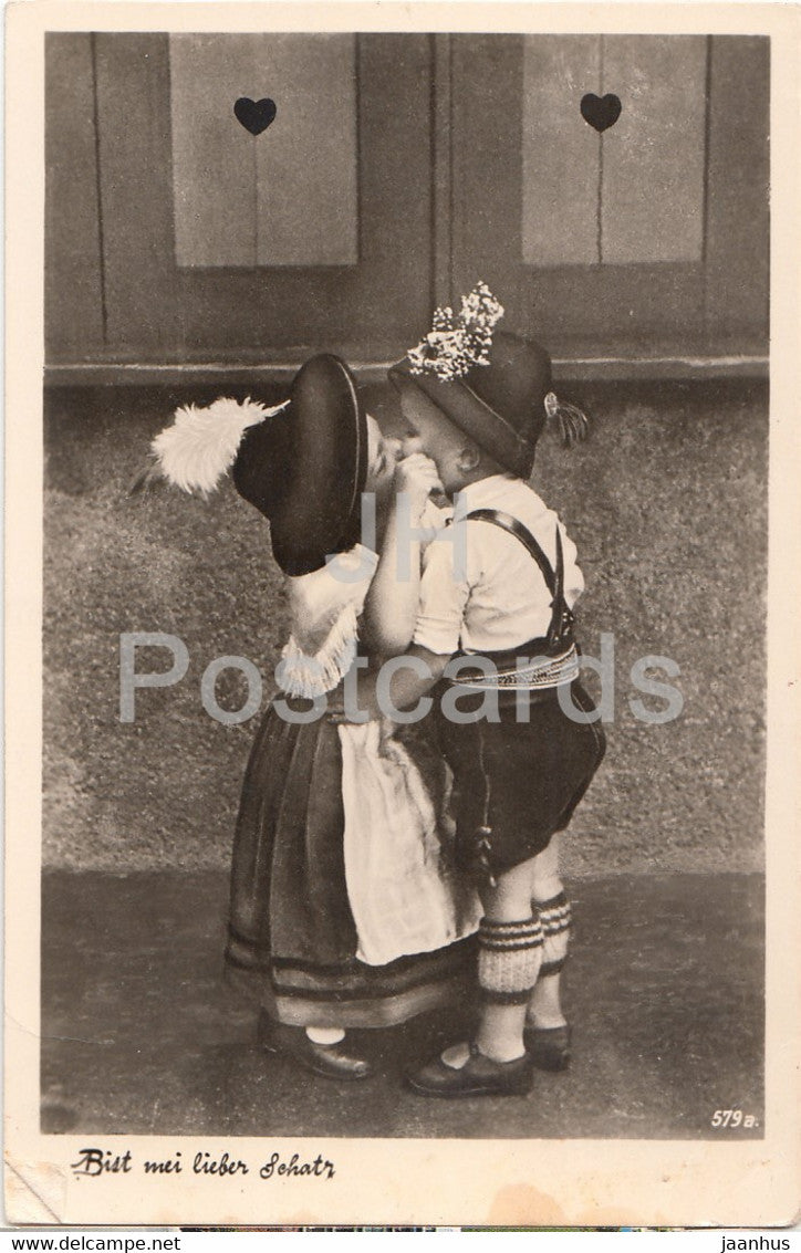 Bist Mei Lieber Schatz - Boy and Girl Kissing - German Folk Costumes - Germany - unused - JH Postcards