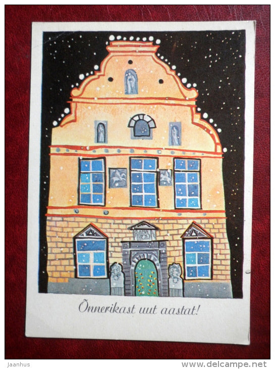 New Year greeting card - by J. Tammsaar - building in Old Town - 1982 - Estonia USSR - used - JH Postcards
