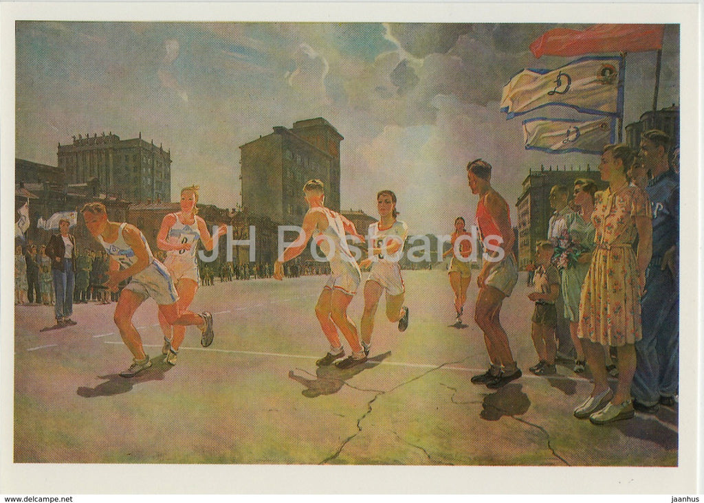 painting by Aleksandr Deyneka - Running Race on circle B - sport - Russian art - 1987 - Russia USSR - unused