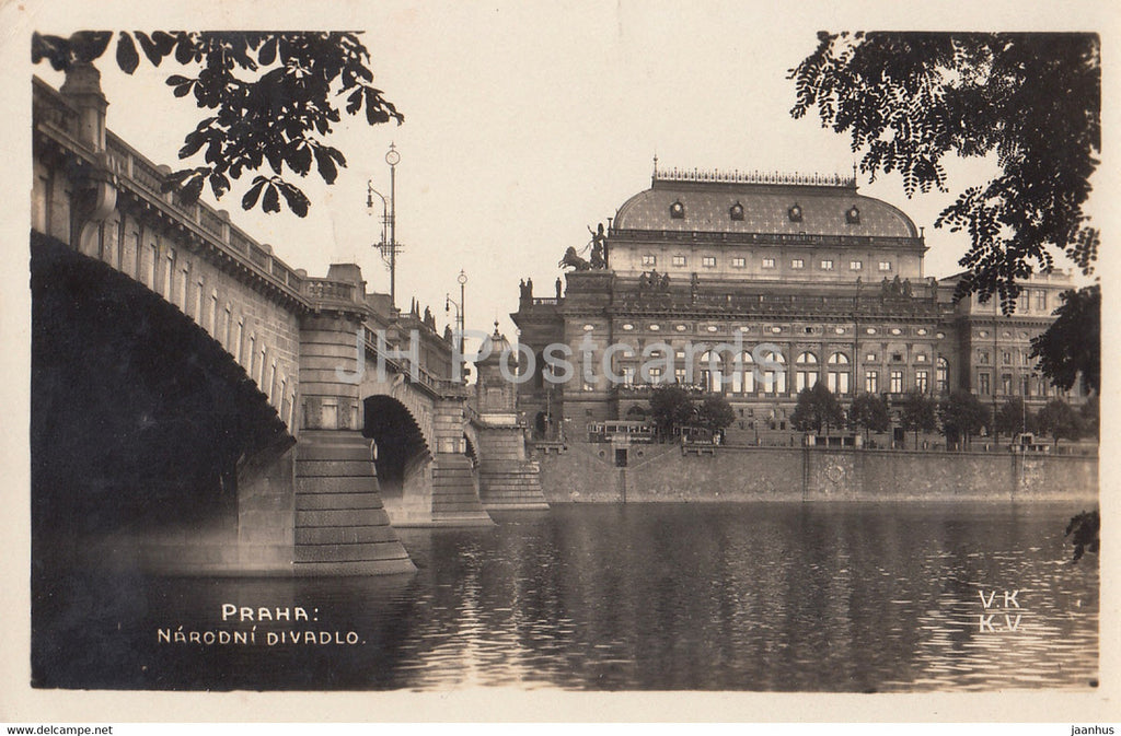 Praha - Prague - Narodni Divadlo - National Theatre - 200 - old postcard - 1929 - Czech Republic - used - JH Postcards
