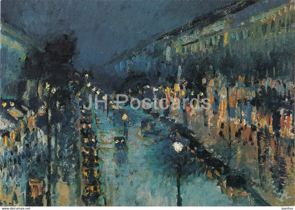 painting by Camille Pissarro - Boulevard Montmartre bei Nacht - French art - Germany - unused - JH Postcards
