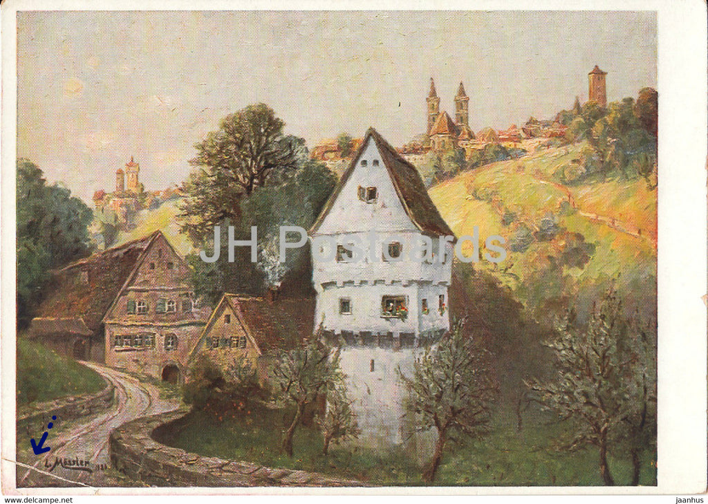 painting by Ludwig Mossler - Rothenburg o T - Topplerschlosschen - German art - Germany - unused - JH Postcards