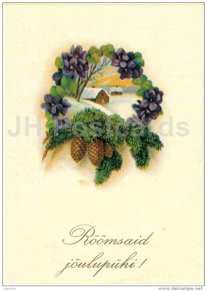 Christmas Greeting Card - fir cones - house - old postcard reproduction - Estonia - unused - JH Postcards