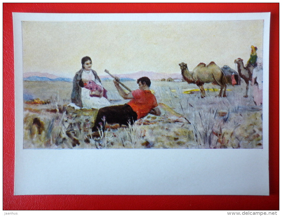 painting by K. Shayahmetov . Evening in the Steppe , 1959 - camel - music instrument - kazakhstan art  - unused - JH Postcards