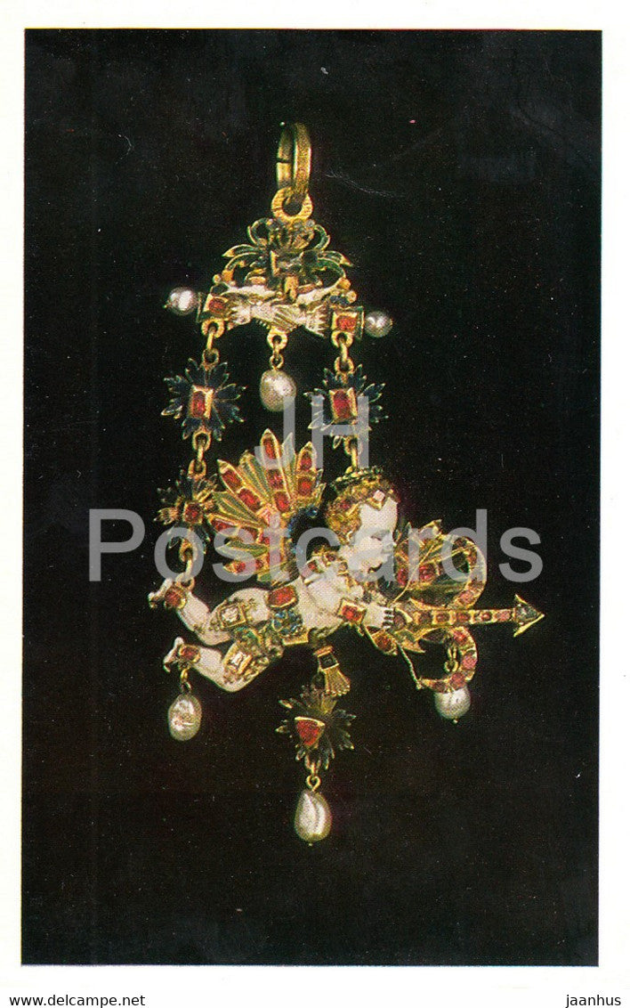 Jewels - Enamelled Gold Pendant - Germany 16th Century - The Hermitage - Leningrad - Russia - USSR - 1982- used - JH Postcards