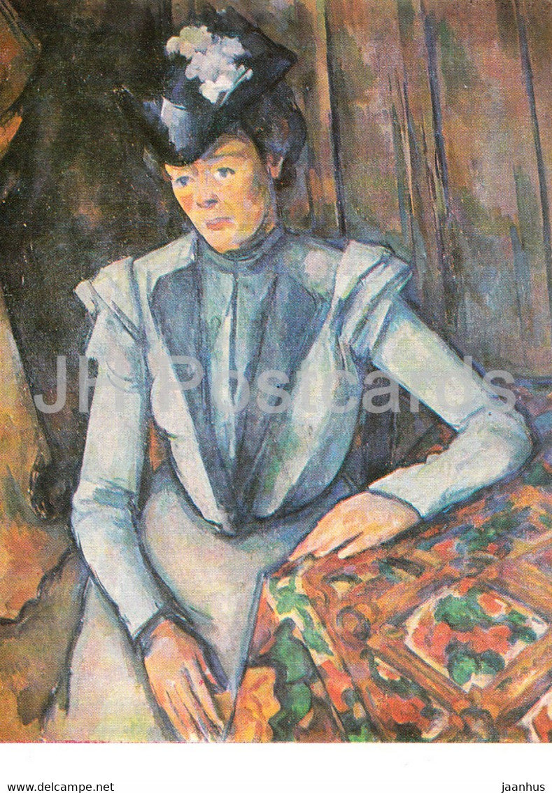 painting by Paul Cezanne - Frau in Blau - Lady in Blue - French art - Germany DDR - unused - JH Postcards