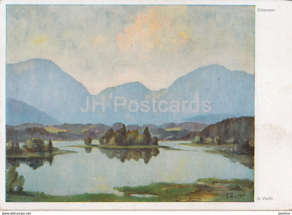 painting by O. Vaeltl - Osterseen - German art - Germany - unused - JH Postcards