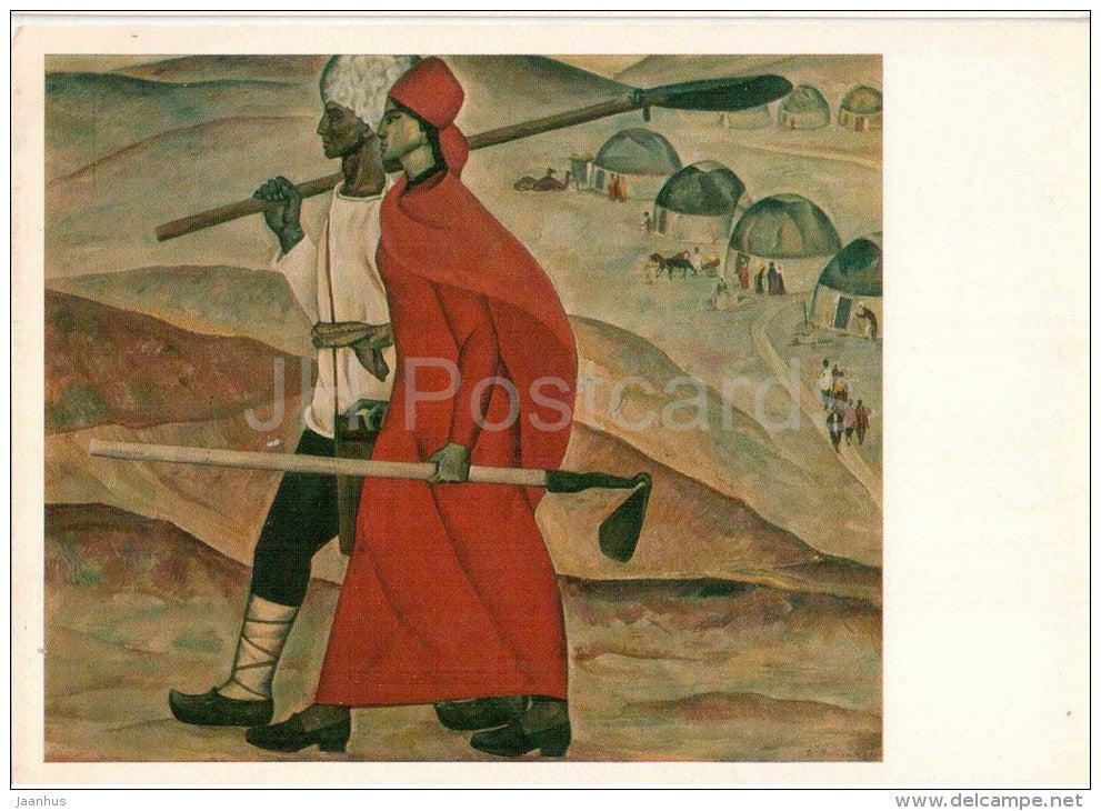 painting by D. Bayramov - The Pioneers , 1968 - agriculture - turkmenian art - unused - JH Postcards