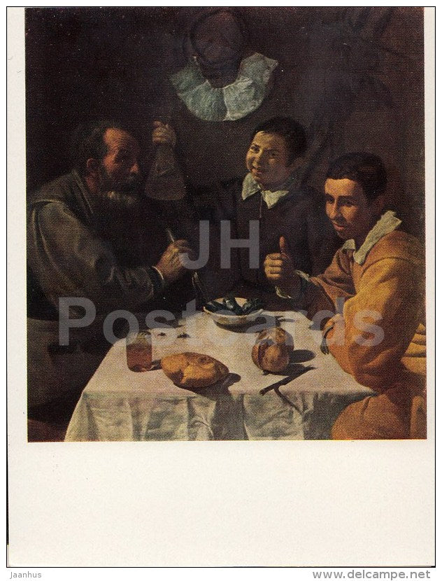 painting by Diego Velazquez - Breakfast - Spanish Art - 1963 - Russia USSR - unused - JH Postcards
