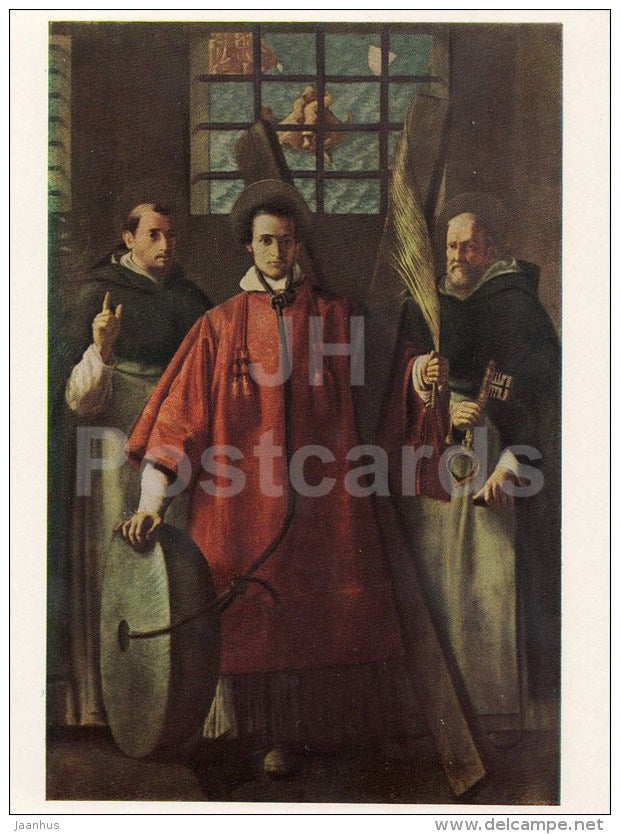 painting by Francisco Ribalta - Three saints in prison - Spanish Art - 1963 - Russia USSR - unused - JH Postcards