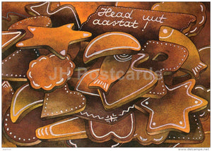 New Year Greeting card - 1 - by R. Lukk - Gingerbread - 1987 - Estonia USSR - used - JH Postcards