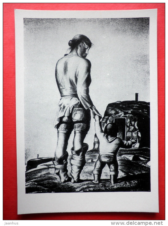 lithography by Rockwell Kent - Dirty Deborah . 1933 - mother with child - art of USA - unused - JH Postcards