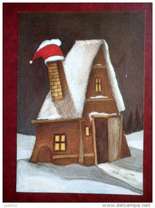 New Year Greeting card - illustration by Juss Piho - house - winter - 1990 - Estonia USSR - used - JH Postcards