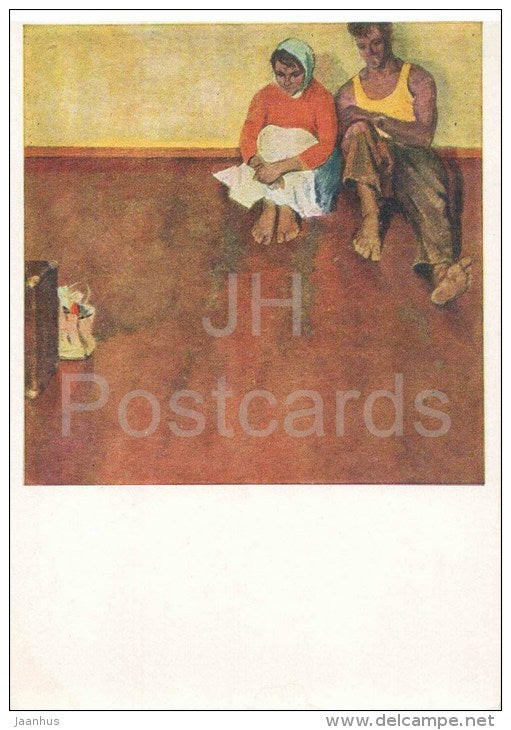 painting by M. Dantsig - Settlers - man and woman - belarus art - unused - JH Postcards