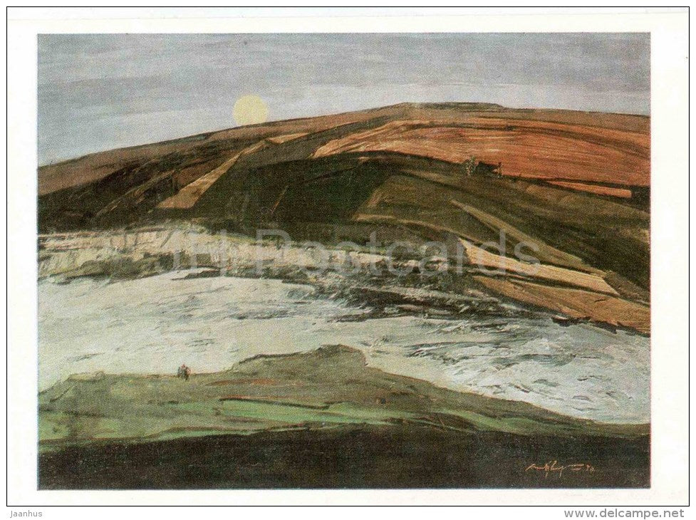 painting by V. Tsvirko - Silence , 1970 - soviet art - belarus art - unused - JH Postcards