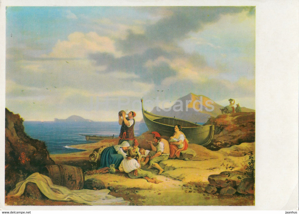 painting by Ludwig Richter - Blick von Bajae auf Capri - boat - 1526 - German art - Germany DDR - unused - JH Postcards
