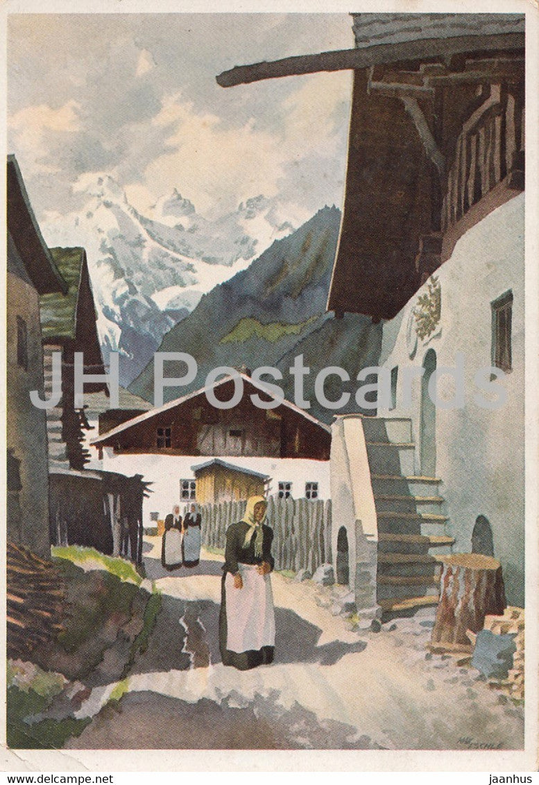 painting by Max Eschle - Sonntag in Pfunds - German art - Germany - unused - JH Postcards