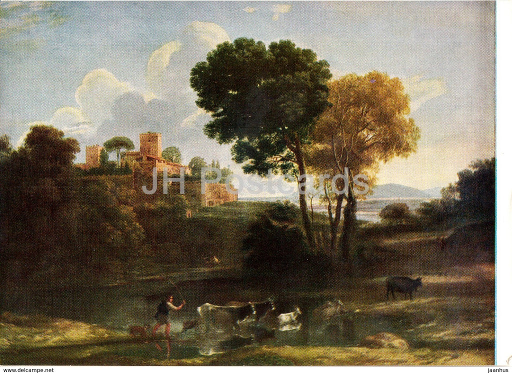 painting by Claude Lorrain - Villa in the Roman Campaigna - French art - Hungary - unused - JH Postcards