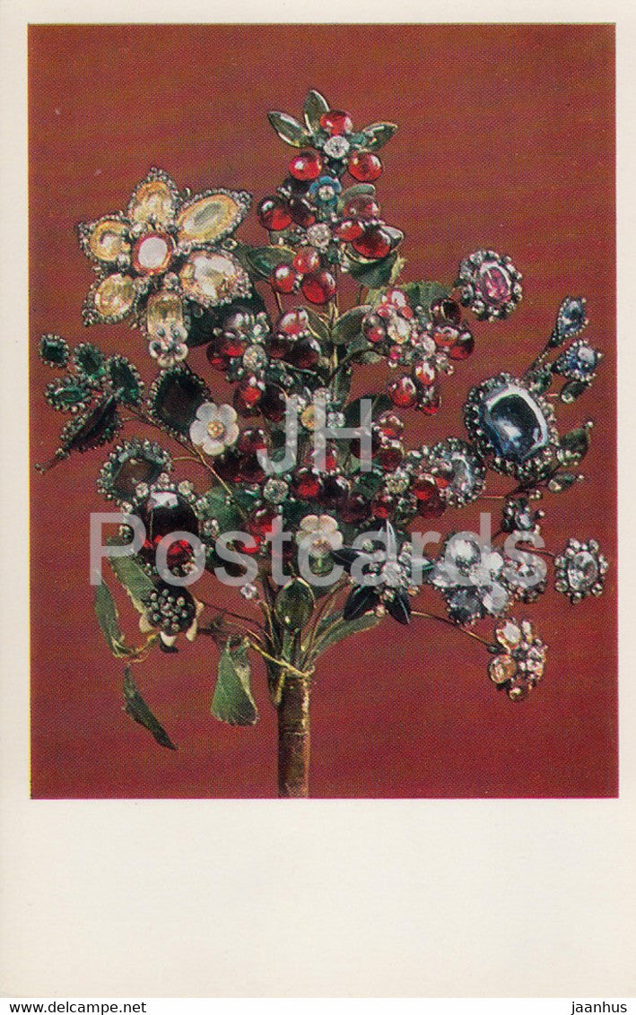 Jewels - Bouquet - Russia 18th Century - The Hermitage - Leningrad - Russia - USSR - 1982 - used - JH Postcards