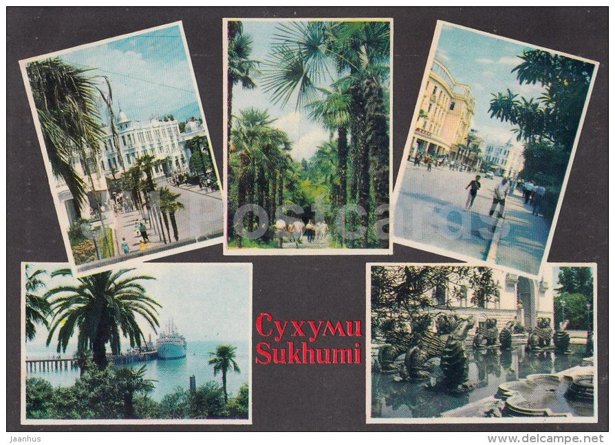 hotel Ritsa - theatre - botanical garden - Sukhumi - 1968 - Georgia USSR - unused - JH Postcards