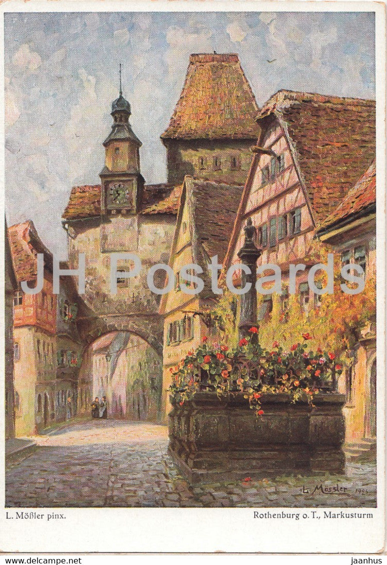 painting by Ludwig Mossler - Rothenburg o T - Markusturm - German art - Germany - unused - JH Postcards
