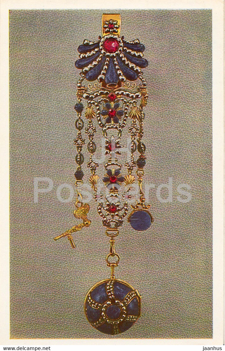 Turnip watch on a chatelaine - English Applied Art - 1983 - Russia USSR - unused - JH Postcards
