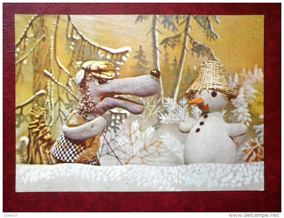 New Year Greeting card - puppetry - snowman - wolf - 1978 - Estonia USSR - unused - JH Postcards