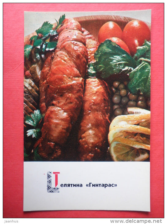 veal Gintaras - tomato - recipes - Lithuanian dishes - 1974 - Russia USSR - unused - JH Postcards