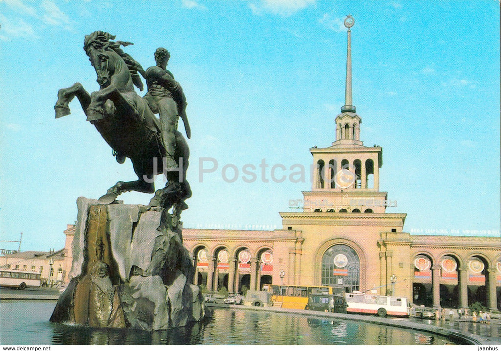 Yerevan - monument to David of Sasun - Ikarus bus - trolleybus - postal stationery - 1985 - Armenia USSR -  unused - JH Postcards