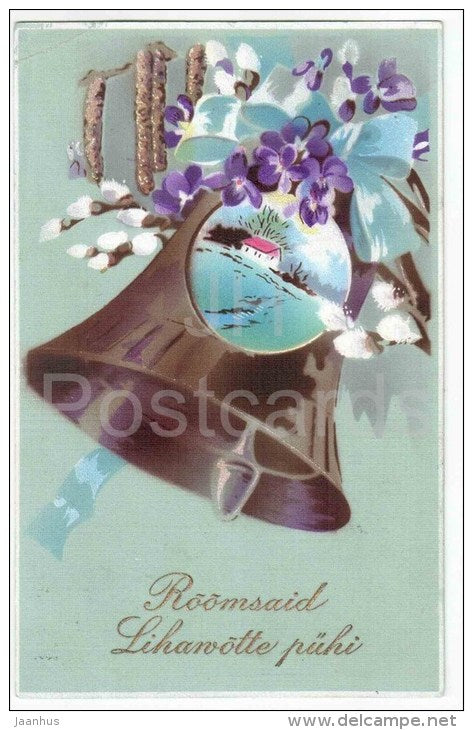 Easter Greeting Card - bell - catkins  - circulated in Estonia 1933 - JH Postcards