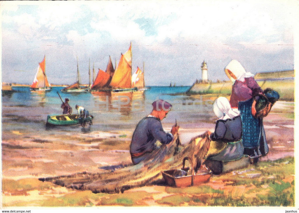 painting - sea - fisherman - 1002 - boat - France - unused - JH Postcards