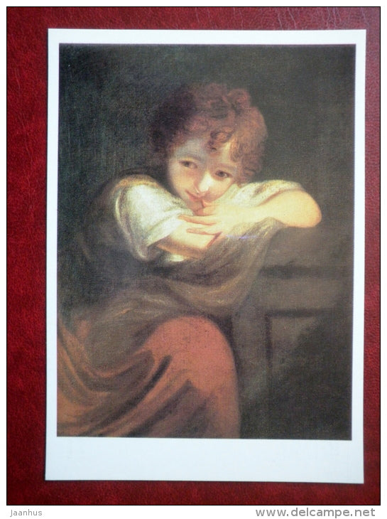 painting by Joshua Reynolds , Little Rogue - english art - unused - JH Postcards