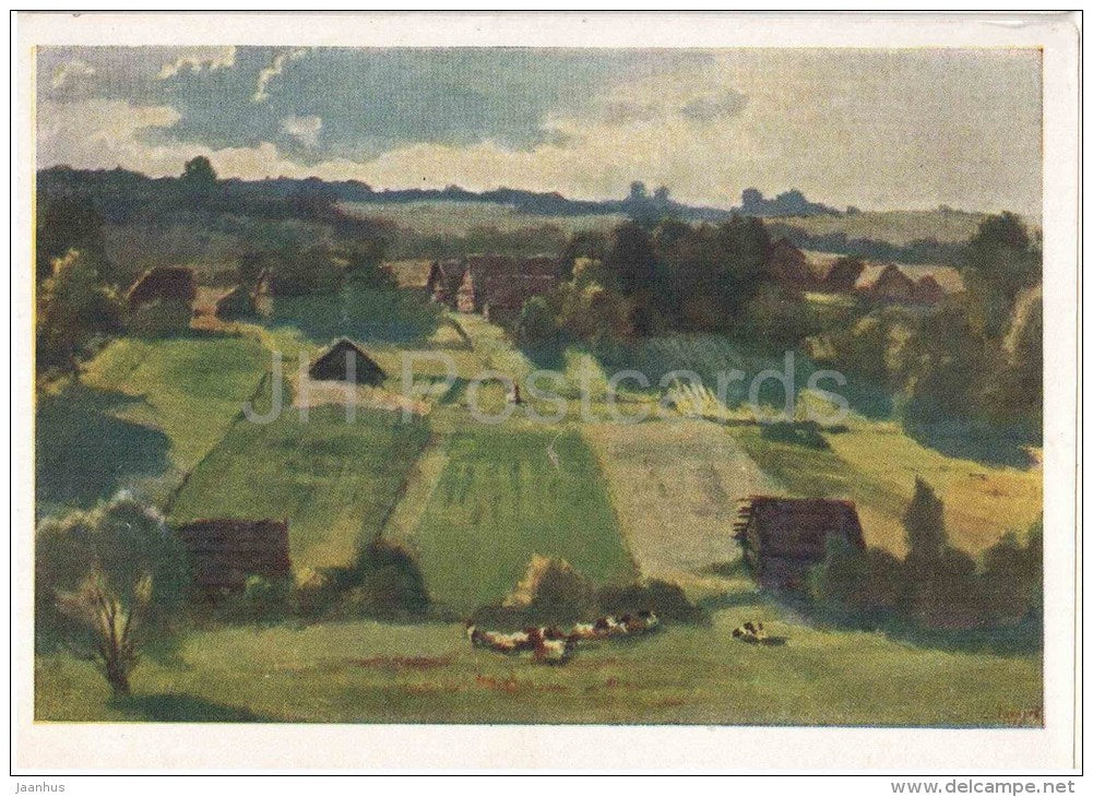 painting by S. Zaharov - In Belarus - village - russian art  - unused - JH Postcards