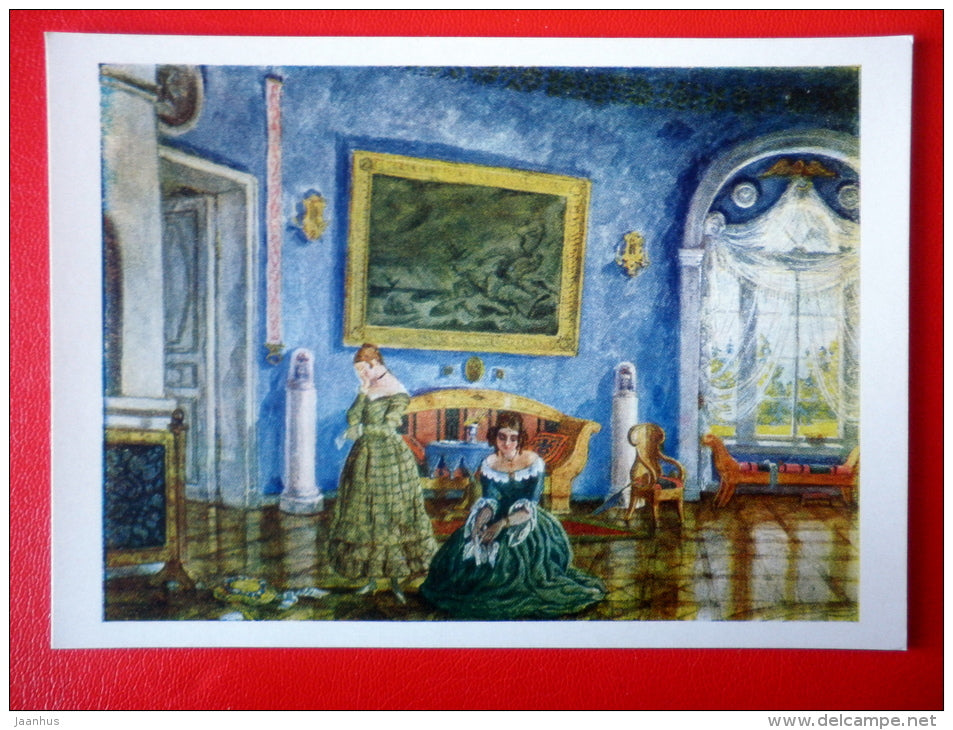 painting by M. Dobuzhinsky . Design for Turgenev play Month in the Village - State Theatre Museum in Moscow - unused - JH Postcards