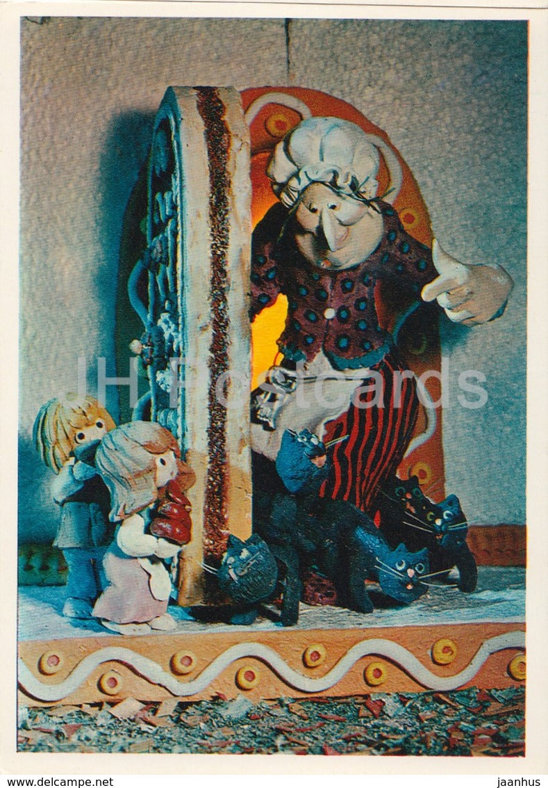 Hansel and Gretel by Brothers Grimm - sweet house - cats - dolls - Fairy Tale - 1975 - Russia USSR - unused - JH Postcards