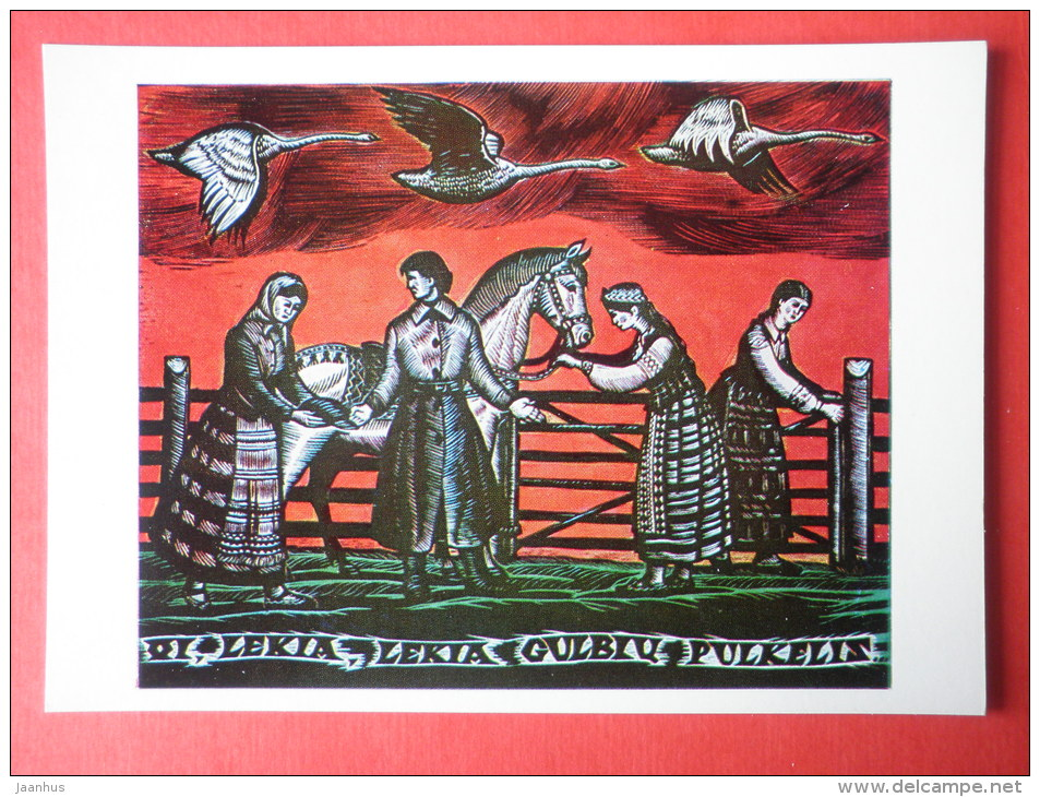 engraving by Jonas Kuzminskis - Lithuanian Folk Song theme . 1963 - swan - horse - lithuanian art - unused - JH Postcards