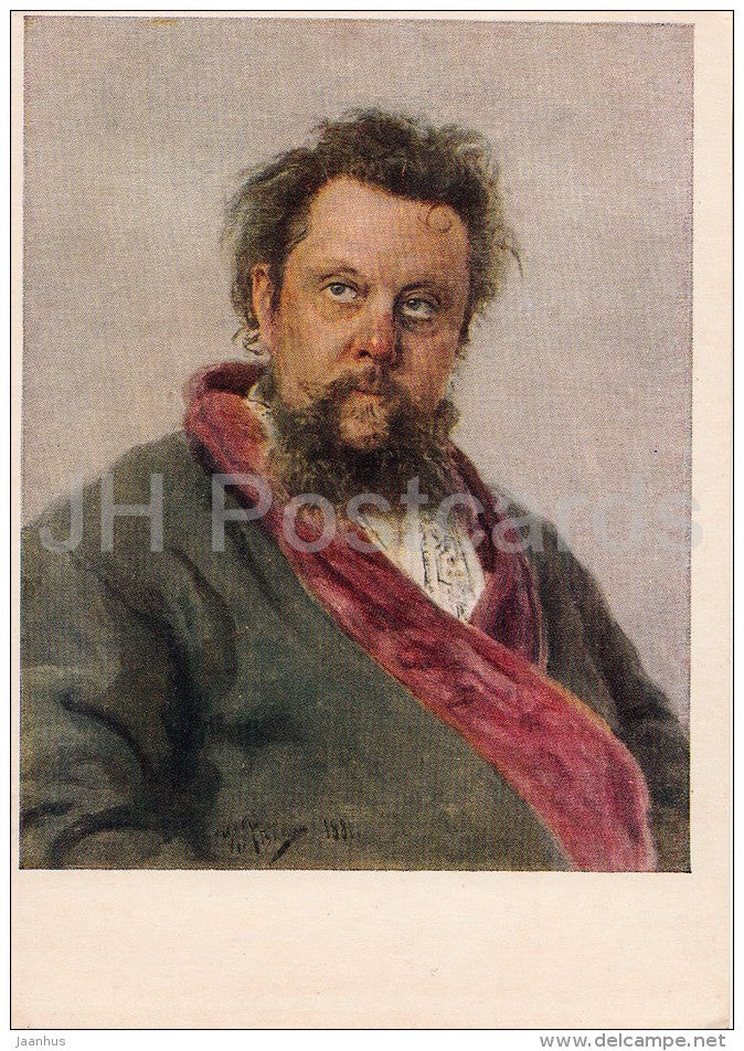 painting by I. Repin - Portrait of Russian composer Modest Mussorgsky , 1881 - Russian art - 1955 - Russia USSR - unused - JH Postcards