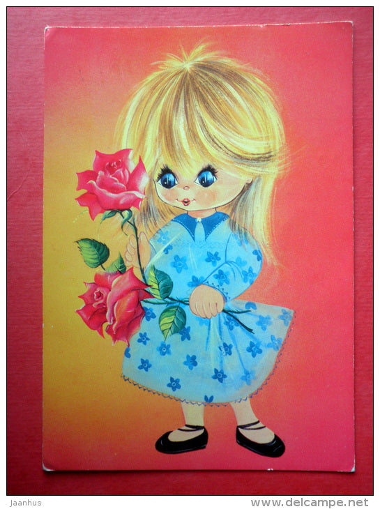 illustration - girl - flowers - rose - 1742/2 - Italy - circulated in Finland 1978 - JH Postcards