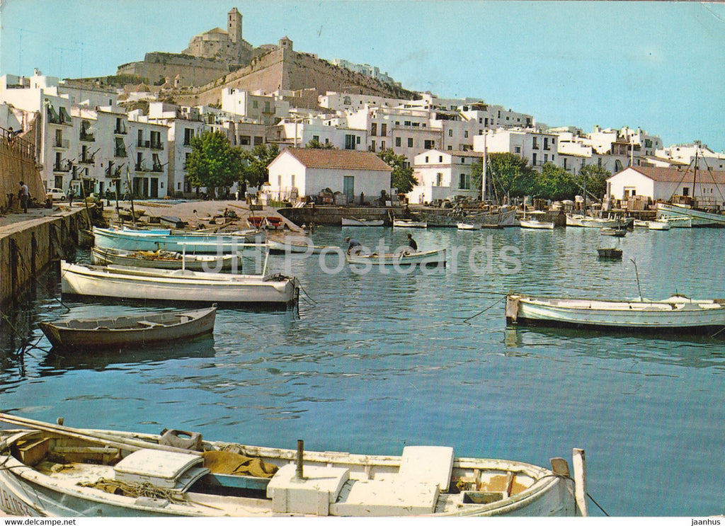 Ibiza - Detalle del Puerto y Catedral - Detail of the Harbour - Cathedral - boat - 213 - Spain - used - JH Postcards