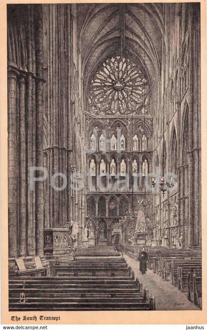 London - Westminster Abbey - The South Transept - old postcard - England - United Kingdom - unused - JH Postcards