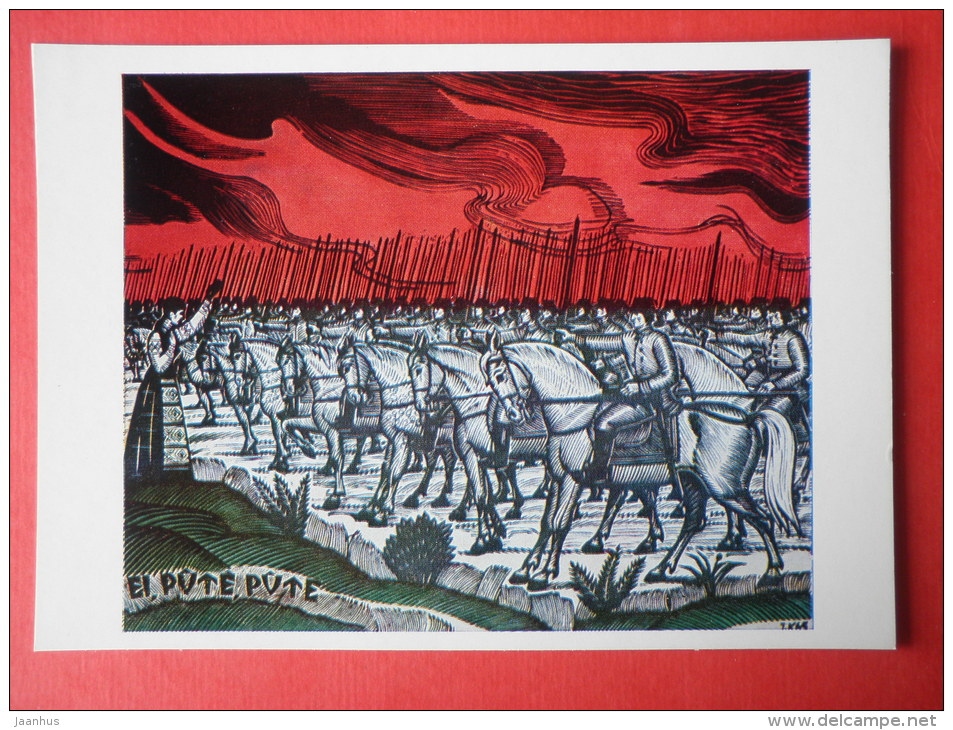 engraving by Jonas Kuzminskis - Lithuanian Folk Song theme . 1965 - soldiers - horse - lithuanian art - unused - JH Postcards