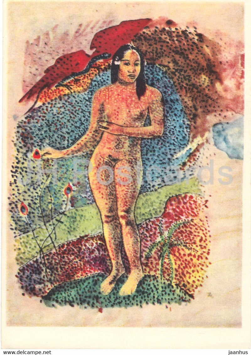 painting by Paul Gauguin - Tahitianische Eva - nude - naked - French art - 1966 - Germany - unused - JH Postcards