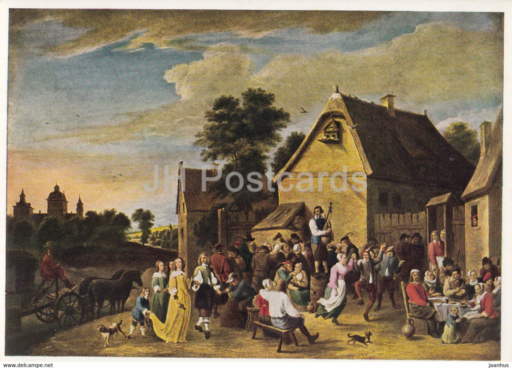 painting by David Teniers the Younger - Flamische Kirmes - Flemish Fair - Flemish art - 1968 - Germany DDR - unused - JH Postcards