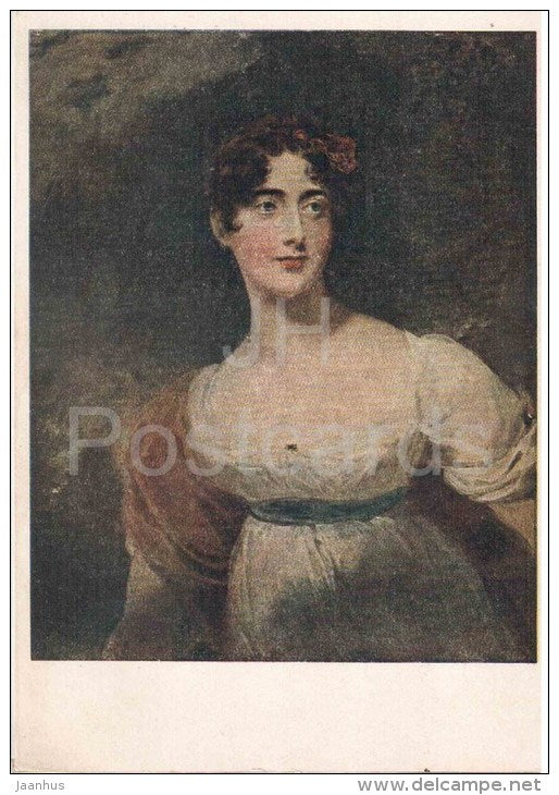 painting by Sir Thomas Lawrence - Lady Raglan - woman - english art - unused - JH Postcards